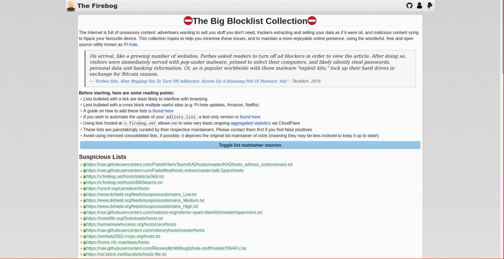 The FireBog Big Blocklist Collection
